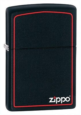 Zippo 218ZB, Red Border, Black Matte Lighter, ***6 Extra Flints & Wick***