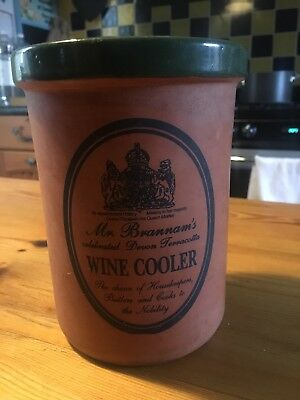 Mr Brannam's Terracotta Wine Cooler Green Trim. Farm House/Vintage Style.