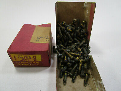 Vintage National Lock Solid Brass 5/8 Slotted Wood Screws 6 Gross/ Boxes