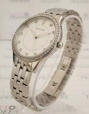 Bulova 96L270 Women's 35mm Crystal Accent Stainless Steel Watch *NEW+SHIPS FREE*