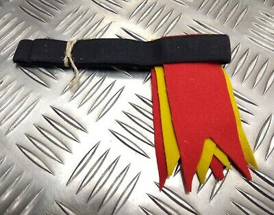 Genuine British Vintage Military Two Tone Garter Tabs Yellow & Scarlet 1960s NEW