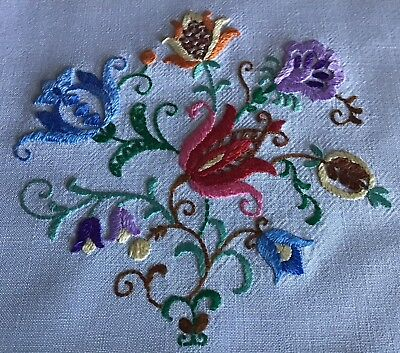 Pair Beautiful Vintage Hand Embroidered Antimacassars~ Jacobean Embroidery