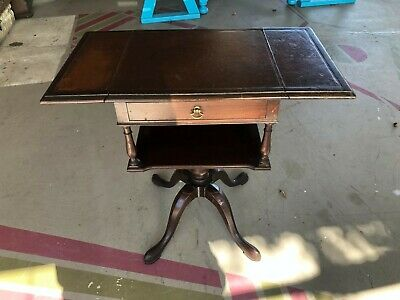 Antique Drop Side Leather Top Lamp Table