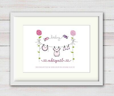 GIRL New Birth Newborn Personalised Name Print Christening Gift Nursery BABY