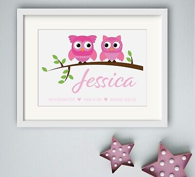 GIRL New Birth Newborn Personalised Name Print Christening Gift Nursery OWL