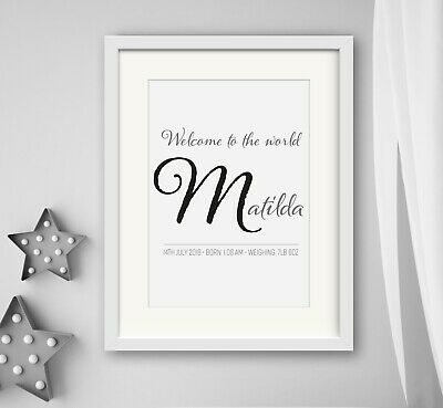 GIRL/BOY New Birth Newborn Personalised Name Print Christening Gift WELCOME