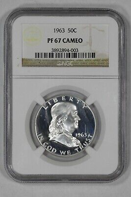 1963 Franklin Half Dollar 50C Ngc Certified Pf 67 Proof Cameo (003)
