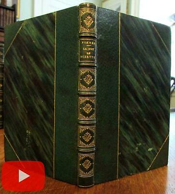 Beautiful gilt green morocco leather pocket sized book 1839 Paris French Fievee