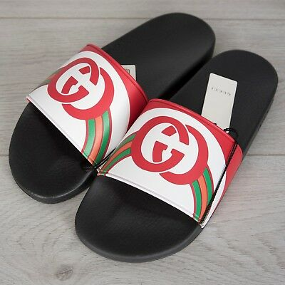 fa23a3277c3a2 GUCCI 290  Men s Slide Sandals In White Striped Rubber With Red GG Logo
