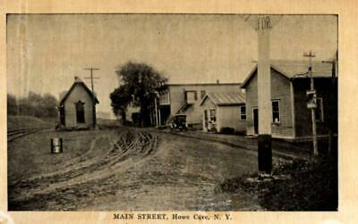 Howe Cave, New York - Car on Main Street by the railroad crossing - c1908