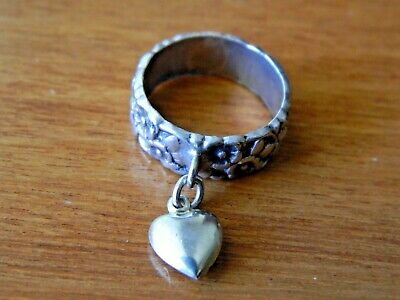 Antique Art Nouveau Flowers Floral Heart Charm Sterling Silver Wedding Band Ring