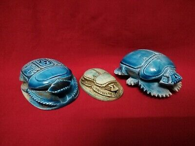 3 Ancient Egyptian Antiquities rare Scarab (721-707 BC)