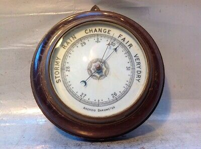 Nice Vintage Round Wall Aneroid Barometer Milk Glass Face ? Oak Case