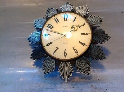 Vintage Metamec Gold Sunburst Wall Clock Battery Operated Lovely Looking Clock