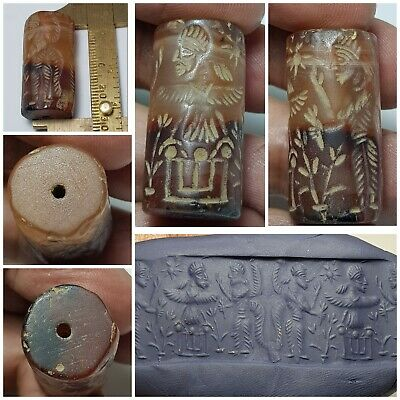 Amyzing very old  sassanian nice carved agate  cylindersesl bead