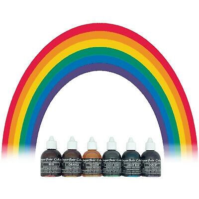 Sugarflair Edible Food Colouring Liquid Airbrushing Cake Decorating  - 6 Colours