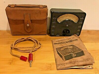 VINTAGE 1930s UNIVERSAL AVO MINOR METER WITH LEATHER CASE & INSTRUCTION UNTESTED