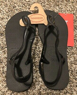 6fb89650a983 NEW Havaianas Luna Flip Flop Thong Sandal Shoes Size 6W Black FREE Shipping