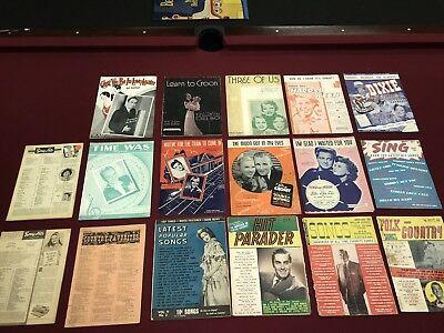 Lot Of (17) Vintage 1930,40,50s Song Books Sheet Music Hit Parader Song Hits Ads
