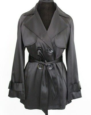 8d14d42c2b7 INC International Concepts Womens Coat Jacket Black Belted Trench Size Small