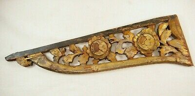 Antique Chinese 150 Year Old Hand Carved Wooden Carving Peony Flowers