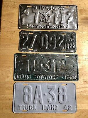 Idaho Rare License Plate Lot 1922, 1928, 1942, 1947 Restoration Projects