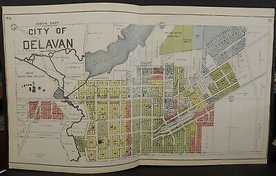 Wisconsin Walworth County Map Delavan 2-Double Pages  1921  J24#48