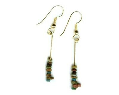 BC1100 Colorful Ancient Egypt Faience Silica Ceramic Proto Glass Earrings 14ktGF