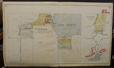Wisconsin Walworth County Map Fontana Double Page 1921  J24#49