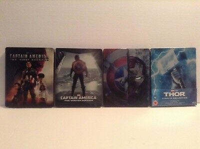 Captain America trilogy + Thor trilogy - 4 limited edition steelbook