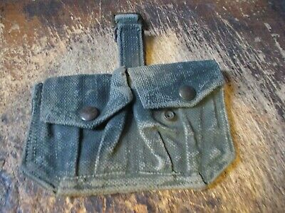 Original WW2 BRITISH ENFIELD WEB AMMO TWIN POUCH GREEN CAMMO