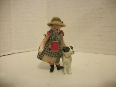 Antique German Miniature Dollhouse Doll Jointed & Dressed W/ Dog !!! CUTE!!