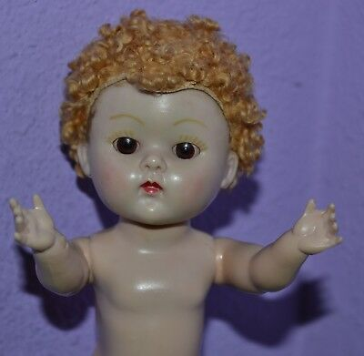 "Vogue 8"" Ginger Caracul Wig Ginny Doll Hard Plastic 1950's Vintage Brown Eyes"