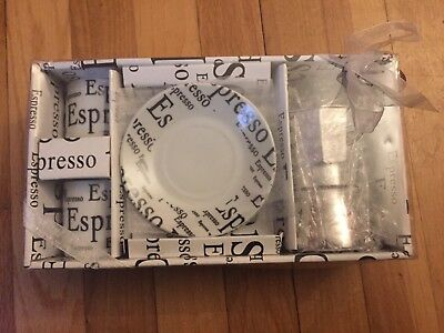 2 Cup 2 saucer espresso coffee gift set Bridesmaids Coffee Lover Gift Brand New