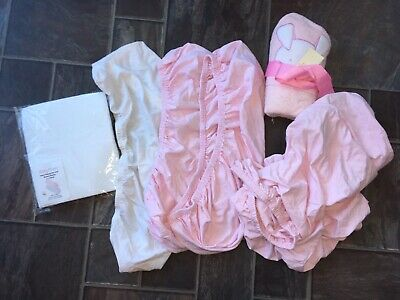Bundle 6x Baby Fitted Moses Basket Cot Sheets Hooded Towel Brand New Pink Girl