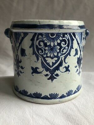 """Antique French Blue & White Faience Pot. 18thC Rouen Gaspard Robert (Marked """"R"""")"""