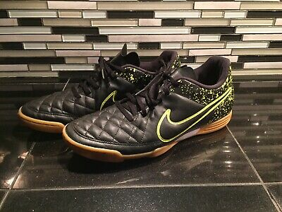 separation shoes 84951 c4ffe Nike Tiempo Rio II IC Black Volt Green Indoor Soccer Shoes 631523-007 Mens  10