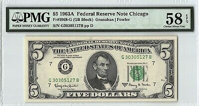 United States 1963A Fr. 1968-G PMG Choice About UNC 58 EPQ 5 Dollars Chicago FRN