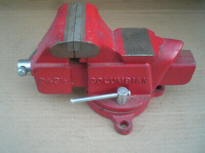 """Vintage Columbian No. 43 1/2 Bench Vise with Swivel Base 3 1/2"""" Jaws"""