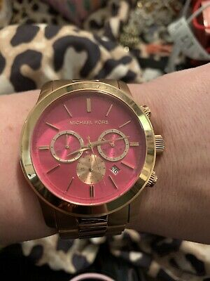 6496741b3e55 EUC Michael Kors MK5931 Runway Chronograph Rose Stainless Steel Watch  GORGEOUS!