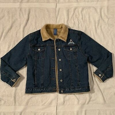 a18e1755 Vintage Disney Mickey Mouse Legendary Faux Fur Lined Denim Jean Jacket  Women's L