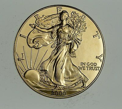 2000 24 Kt Gold Plated American Silver Eagle - Beautiful Coin! 1 Oz .999 *897