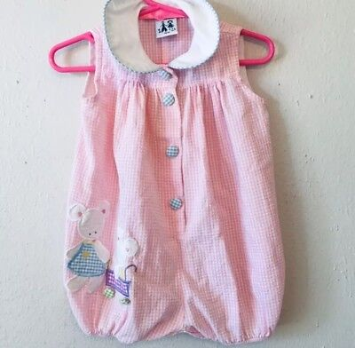 Vintage Made USA Girls 18M Pink Gingham Emboidered Romper One Piece