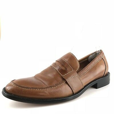 906a1b80827b01 Fitzwell Jackson Penny Cognac Leather Dress Penny Loafers Mens Size 9 N