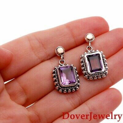 Purple Amethyst 18K Gold Sterling Silver Drop Earrings 7.2 Grams NR