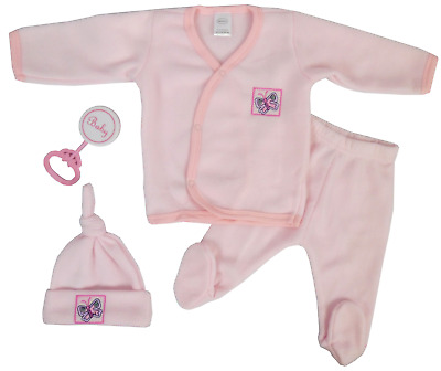 Newborn Infant Baby Girl Pink Fleece Set  Jacket Cap Pants Rattle New