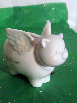 Pig With Wings, White Porcelain China Piggy Bank Excellent Condition, 'february'