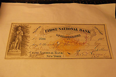 1881 FIRST NATIONAL BANK of COOPERSTOWN, NY to CHASE NATIONAL BANK CHECK