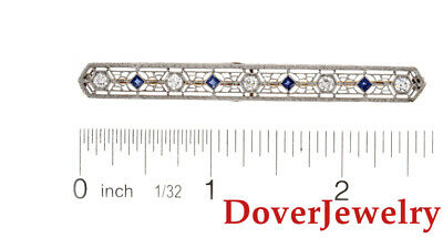 Vintage Diamond Sapphire 14K Gold Filigree Milgrain Bar Pin 5.2 Grams NR