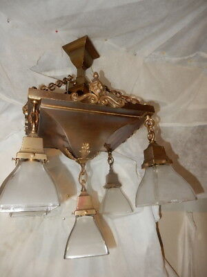 Mission Arts & Crafts Brass Pendant Light Fixture Chandelier w Frosted  Shades